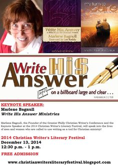 This AWESOME women of God - Marlene Bagnull - is serving as the Keynote Speaker at this year's 2014 Christian Writer's Literary Festival! Get READY!