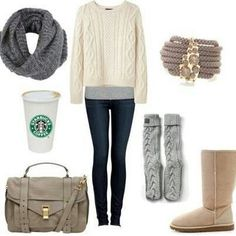 Bild über We Heart It https://weheartit.com/entry/146317477/via/6492552 #beige #boots #clothes #fashion #jeans #outfit #starbucks #winter