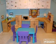 Trace play dishes to make placemats for the kitchen for Daycare kitchen ideas