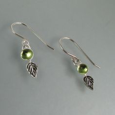 Peridot Spring Leaf Earrings handcrafted from sterling silver — Kryzia Kreations: Nature, mythic, vintage style artisan jewelry