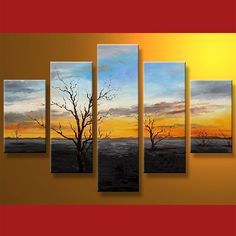 Landscape 5 Panel Framed Canvas Art #CanvasArt #Flowers #Framed #Nature #ReadyToHang