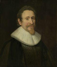 anoniem | Portrait of Hugo Grotius, Jurist, workshop of Michiel Jansz van Mierevelt, 1631 | Portret van Hugo de Groot, rechtsgeleerde. Buste naar rechts.
