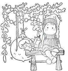 Colouring Pics, Coloring Pages For Kids, Coloring Books, Christmas Embroidery, Magnolias, Copics, Digital Stamps, Christmas Colors, Cross Stitch Embroidery