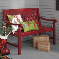 Amalfi Bench from grandinroad. I want this for my porch. Porch Furniture, Painted Furniture, Outdoor Furniture, Garden Furniture, Luxury Furniture, Christmas Porch, Outdoor Christmas, Christmas Ideas, Christmas Cushions