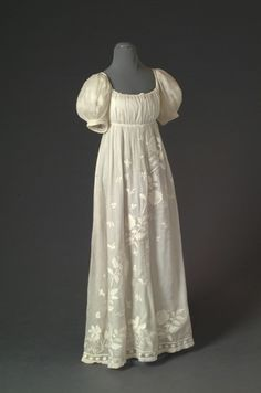 white work embroidery, on Regency muslin gown