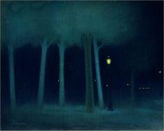 Jozsef Rippl Ronai - A Park at Night