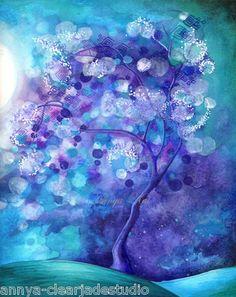 ORIGINAL PAINTING by Annya Kai~Surreal Fantasy Tree Love Dark Blue Green Purple