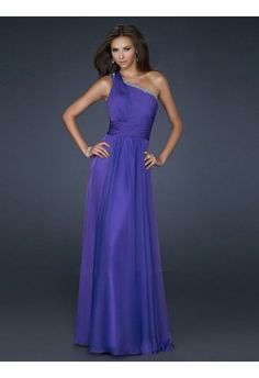 Sheath/Column One Shoulder Sleeveless Floor-length Chiffon Prom Dress #VJ379