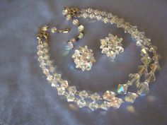 Necklace & Earrings Parure AURORA BOREALIS ~ Mid Century Set by StitchInTimeJewelry