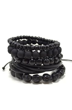5 Pack all Black Bracelet Set for Men / Black Out