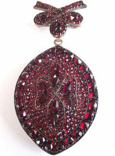 Fine RARE Large Antique Victorian Bohemian Garnet Locket Brooch Slide Necklace | eBay