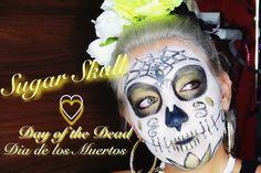 Gold/white Sugar Skull for Dia de los Muertos #dayofdead #sugarskull #halloween #makeup #halloweenidea #halloweenlook #mua