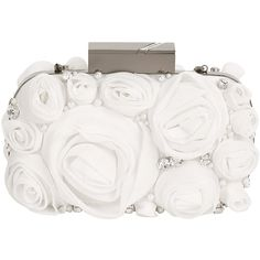 Matthew Williamson Chiffon Rose Clutch ($1,035) ❤ liked on Polyvore featuring bags, handbags, clutches, purses, accessories, bolsas, white handbags, rose purse, hand bags and box clutch