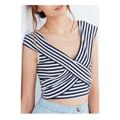 New Stylish Striped Crisscross Front V-Neck Cap Sleeve Color Block... (1.450 RUB) ❤ liked on Polyvore featuring tops, t-shirts, striped t shirt, v neck tee, striped tee, crop t shirt and color block t shirt