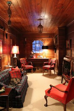 Living room with plaid upholstered furniture and paneled walls/ceiling - The Polohouse: The Tack Room Interior Exterior, Interior Design, Farmhouse Interior, Vintage Farmhouse, Equestrian Decor, Painted Cottage, Enchanted Home, Cabin Interiors, Log Homes