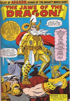 """I love this regal uniform designed by Jack Kirby. This Odin is a far cry from the first times we see the ruler of Asgard. This panel is from """"The Jaws of the Dragon,"""" an episode from the Tales from Asgard series. Journey into Mystery 123 December 1965"""