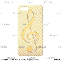 Glass Style Treble Clef Yellow Chevron iPhone 7 Case