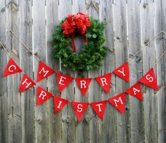 Merry Christmas Burlap Pennant Bunting Banner with Red Burlap & White Handpainted Letters on Etsy, $28.00