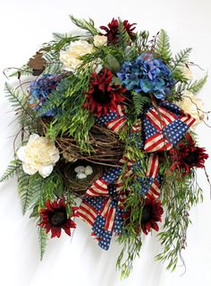 Patriotic 4th of July front door wreath. Repinned from Vital Outburst clothing vitaloutburst.com