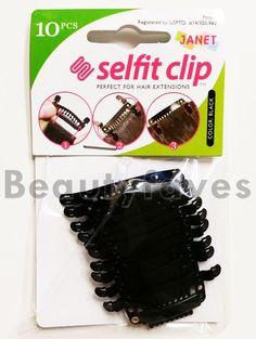 SELFIT CLIP 10PCS (BLACK) - JANET COLLECTION HAIR EXTENSION STITCHLESS CLIP