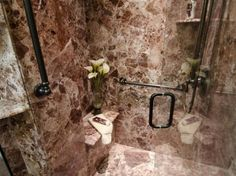Fantasy Bathroom: Euro Frameless Shower in TruStone Breccia Paradiso - 4' x 4' with ceiling