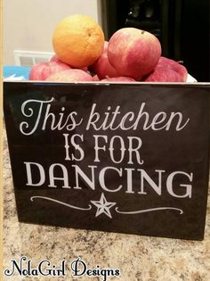 This reminds me of my Mom! She danced in my kitchen every chance she had...Kitchen Decor Dancing in the kitchen sign black by NolaGirlDesign