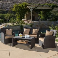 All Weather 4-piece Wicker Patio Furniture Sofa Set W/deep Seating for Outdoo...