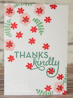 Stampin' Up! UK Feeling Crafty - Bekka Prideaux Stampin' Up! UK Independent Demonstrator: Another Thank You Note Card