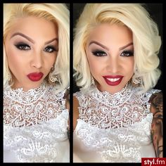 I love the platinum blonde hair with red lips look!
