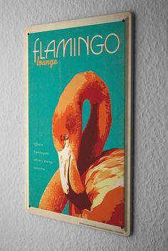 Tin Sign Bird Species  flamingo Metal Plate