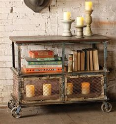 RECYCLED TEAK & IRON ROLLING SHELF W/ WIRE MESH DOORS