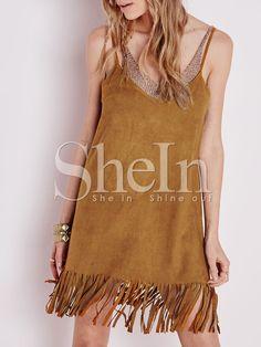 Brown Spaghetti Strap Tassel Dress 12.99