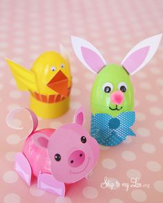 Easter Egg Craft. This would be a cute activity for the kid's table this Easter. Simply print and assemble with glue or tape to your pre-filled egg. #craft #easter skiptomylou.org