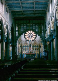 MSE - The Frank Sheen Collection  MSE/4/30 Colour photographic transparency showing the interior of Holy Cross Church, Corporation Street, St.Helens c.1960 pinned by Tray Uru