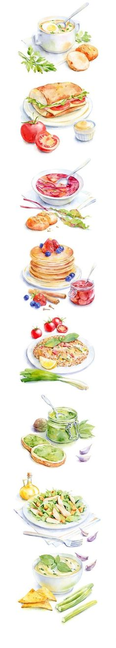 Watercolor food art. Would love these as art prints for my kitchen.