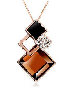 #AdoreWe #VIPme (VIPSHOP Global) CAROMAY❤️Designer Accessories Fashion Crystal Lozenge Pendant Necklace - AdoreWe.com
