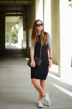Baseball sleeve dress, converse