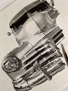 pencil drawing design Nobody Can Believe This Japanese Artist's Pencil Drawings Aren't Photographs - BlazePress - At first glance the work of Japanese artist Kohei Ohmori appears to be high quality black and white photographs thanks to their sharp and Car Drawing Pencil, Realistic Pencil Drawings, Car Drawings, Pencil Art Drawings, Graphite Drawings, Lowrider Drawings, Arte Lowrider, Okayama, Black N White Images