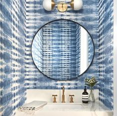 On the topic of powder room goals….WOW Wallpaper – Margate On the topic of powder room goals…. Shibori, Cedar And Moss, Bathroom Sink Faucets, Bathrooms, Bathroom Cabinets, Sinks, Kohler Toilet, Powder Room Design, Room Goals