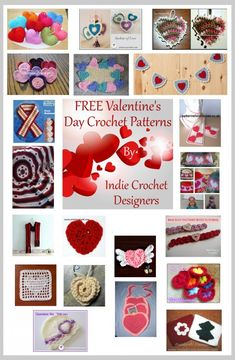 Free Valentine's Day crochet patterns by Indie Crochet Designers.