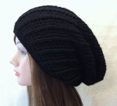 Snowy Hat  Crocheted Ribbed Slouchy Hat by YaxumiKaroDesings