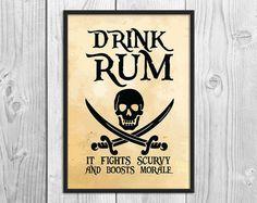 Drink Rum It Fights Scurvy - Pirate Art Print Poster - Wall Decor, Humorous Print, Inspirational Pri