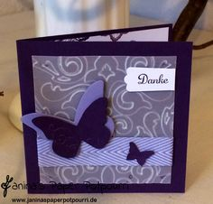 lila Schmetterlings Hochzeit Dankeskarte / purple Butterfly thank you card / Stampin' Up! / Embosslits Schmetterlingsgarten / Framelits Etikett-Kunst/ Bigz Beautiful Butterflies www.janinaspaperpotpourri.de