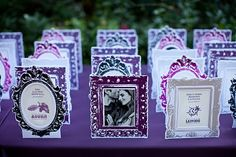 If you can afford these cute little frames as escort cards for your wedding, they are adorable! Perfect for that vintage chic wedding! Cranberry Fall Wedding, Purple Wedding, Dream Wedding, Chic Wedding, Event Planning, Wedding Planning, Seating Cards, Creative Wedding Ideas, Save The Date Invitations