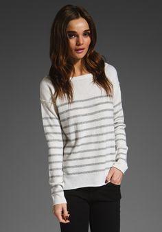 Vince Lurex Stripe Breton Sweater in Marshmallow/Heather Grey