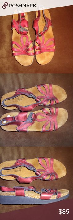 """Metallic Red Leather NAOT Comfort Sandals 41/10 Metallic Red Leather NAOT Comfort Sandals are a size 41/10 with a 1 1/4"""" rubber sole. These sandals have an adjustable Velcro strap and have been very well kept. Naot Shoes Sandals"""