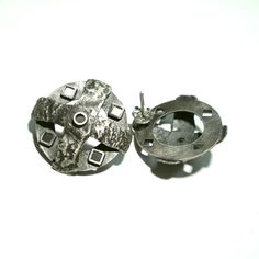 Unique, handmade silver stud earrings with industrial, steampunk vibe. 925 silver 'aged', oxidised and matt. Jewelry Art, Jewellery, Handmade Silver, 925 Silver, Cufflinks, Stud Earrings, Norman, Steampunk, Industrial