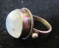 Vintage Sterling Silver Full Moon Moonstone Ring