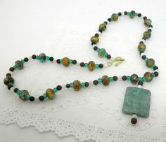 Bohemian Variegated Glass Mother of Pearl Aqua Sea by BeadsGalore2, $20.00