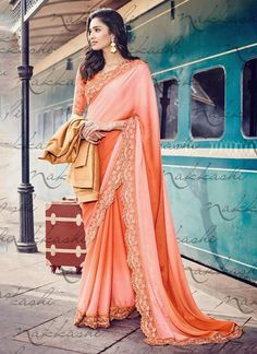 Heavenly Jacquard Orange Patch Border Work Designer Saree